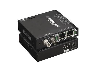 Black Box FE Copper to FE Fiber MM Hardened Media Converter Switch w 12-VDC, ST