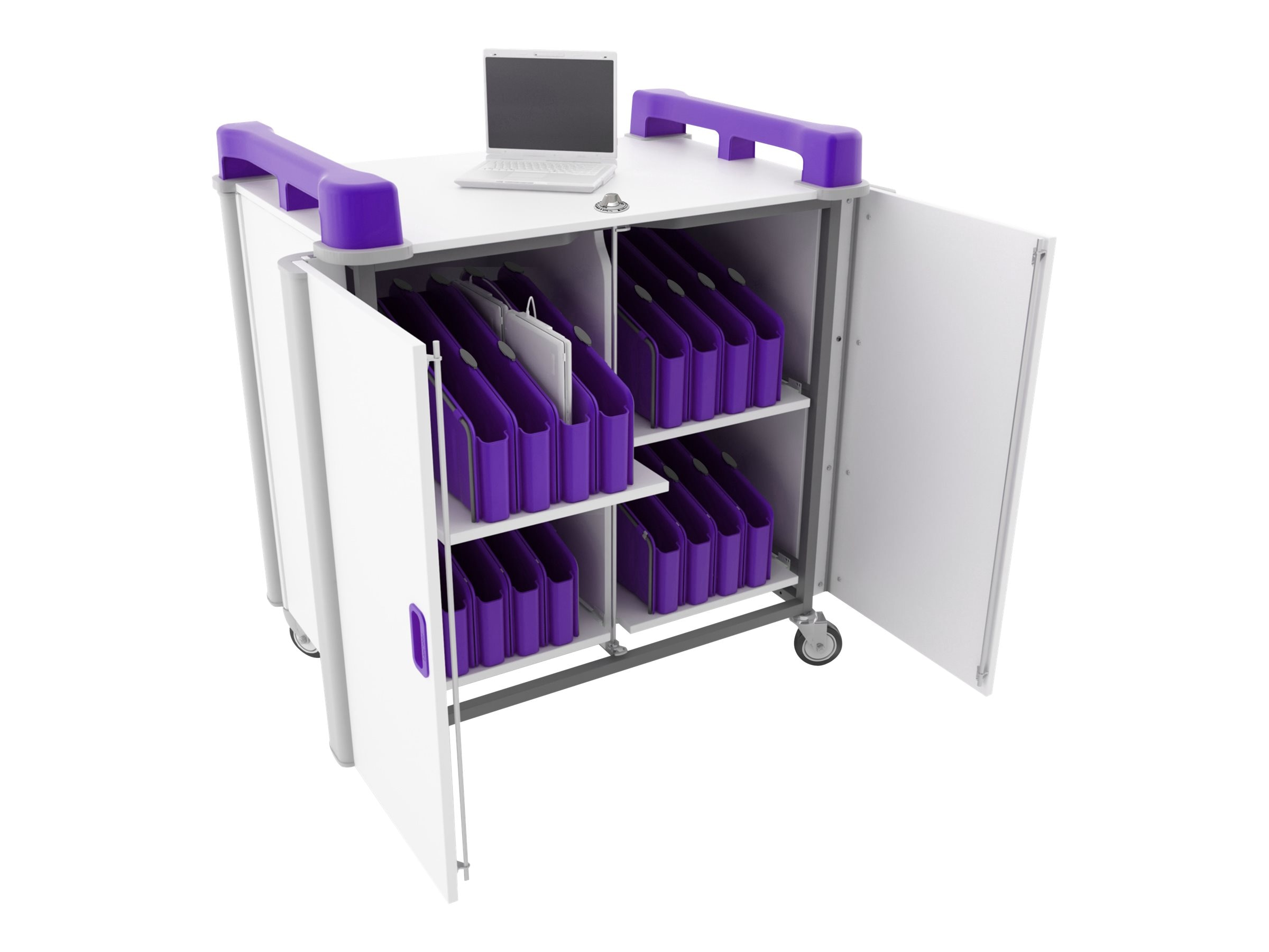 LapCabby 32-Port Mini Laptop Vertical Charging Trolley, Purple, LAPM32VPU/USA