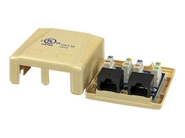 StarTech.com Cat5e RJ-45 Dual Keystone Wall Jack, Ivory, WALLBOX2IV, 13319580, Premise Wiring Equipment