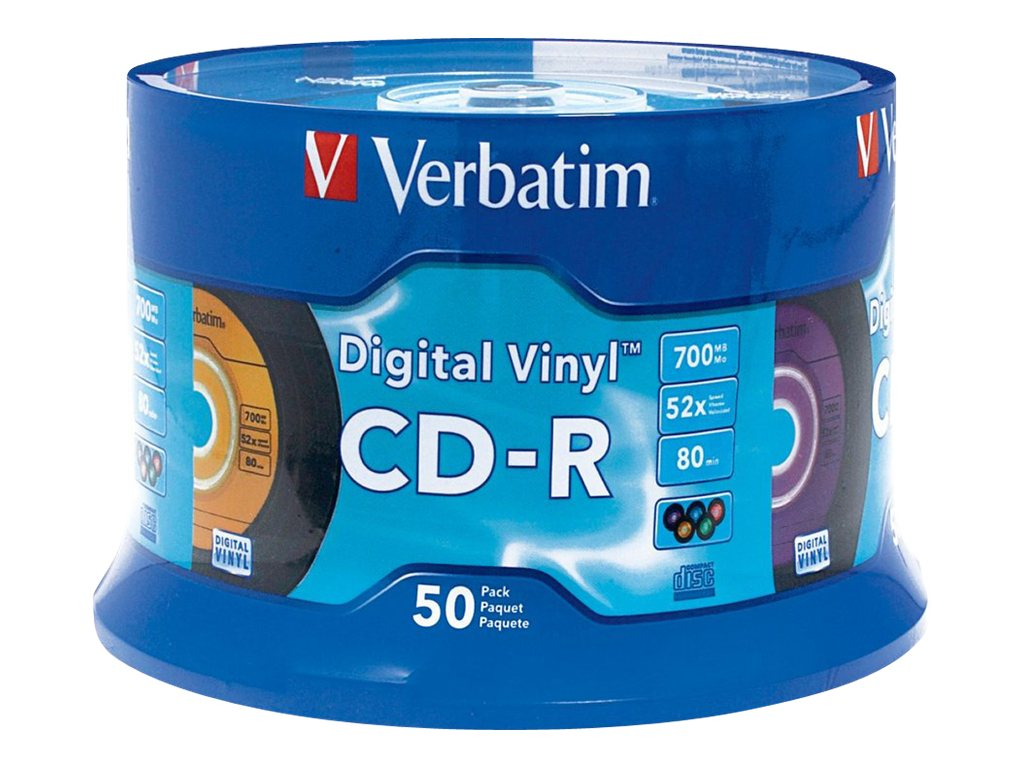 Verbatim Digital Vinyl CD-R 80 Minute, 50-pack Spindle, 94587, 4895905, CD Media