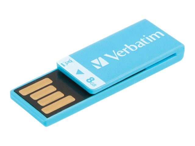 Verbatim 8GB Clip-it USB Flash Drive, Blue, 43934