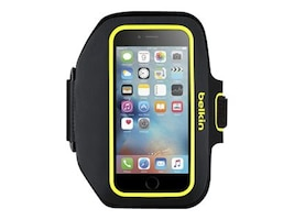 Belkin Sport-Fit Plus Armband for iPhone 6, Blacktop Limelight, F8W501BTC02, 18815911, Carrying Cases - Phones/PDAs