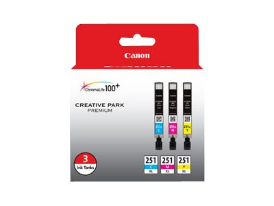 Canon CLI-251 XL 3 Color Pack, 6449B009, 15732538, Ink Cartridges & Ink Refill Kits