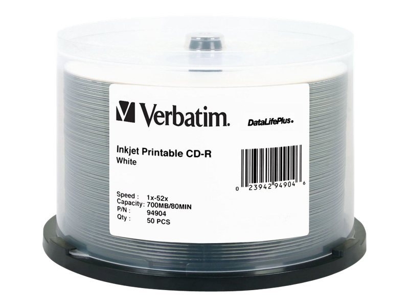 Verbatim 52x 700MB 80min. White Inkjet Printable CD-R Media (50-pack Spindle), 94904, 5231991, CD Media