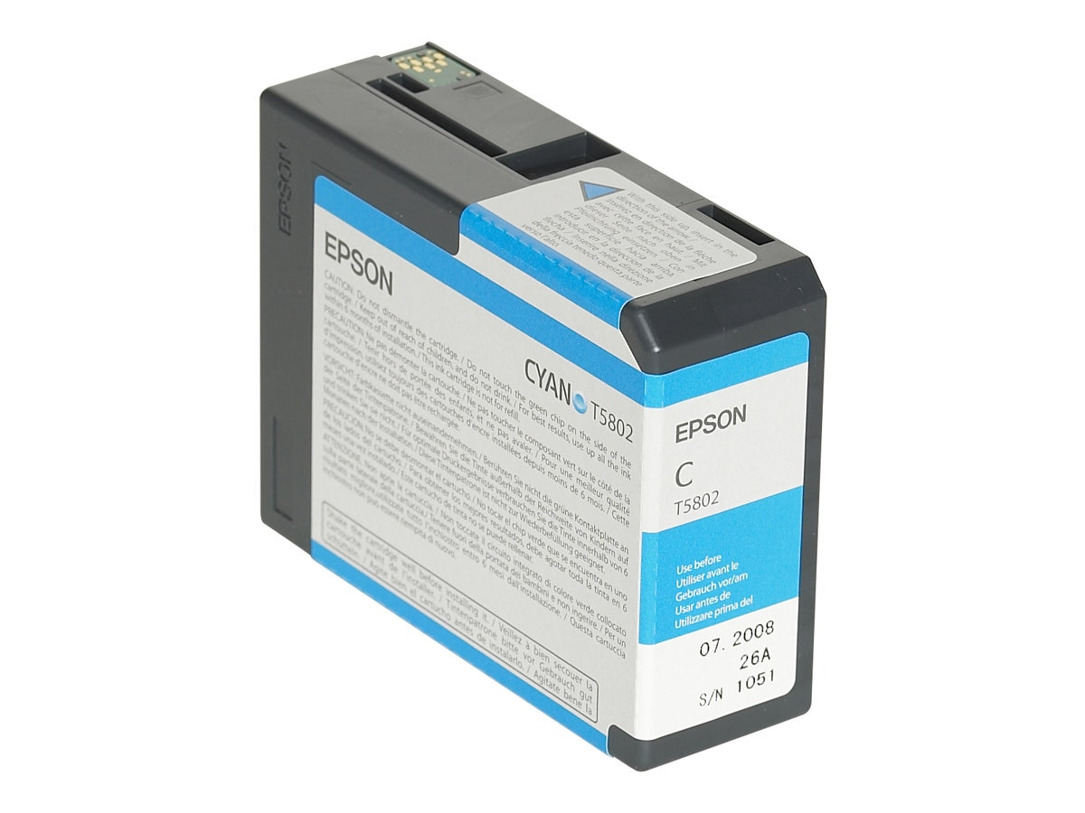 Epson 80 ml Cyan UltraChrome K3 Ink Cartridge for Stylus Pro 3800 3800 Professional Edition, T580200, 7159604, Ink Cartridges & Ink Refill Kits