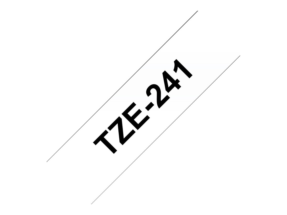 Brother 0.7 x 26.2' TZe241 Black on White Tape for P-Touch 8m, TZE-241