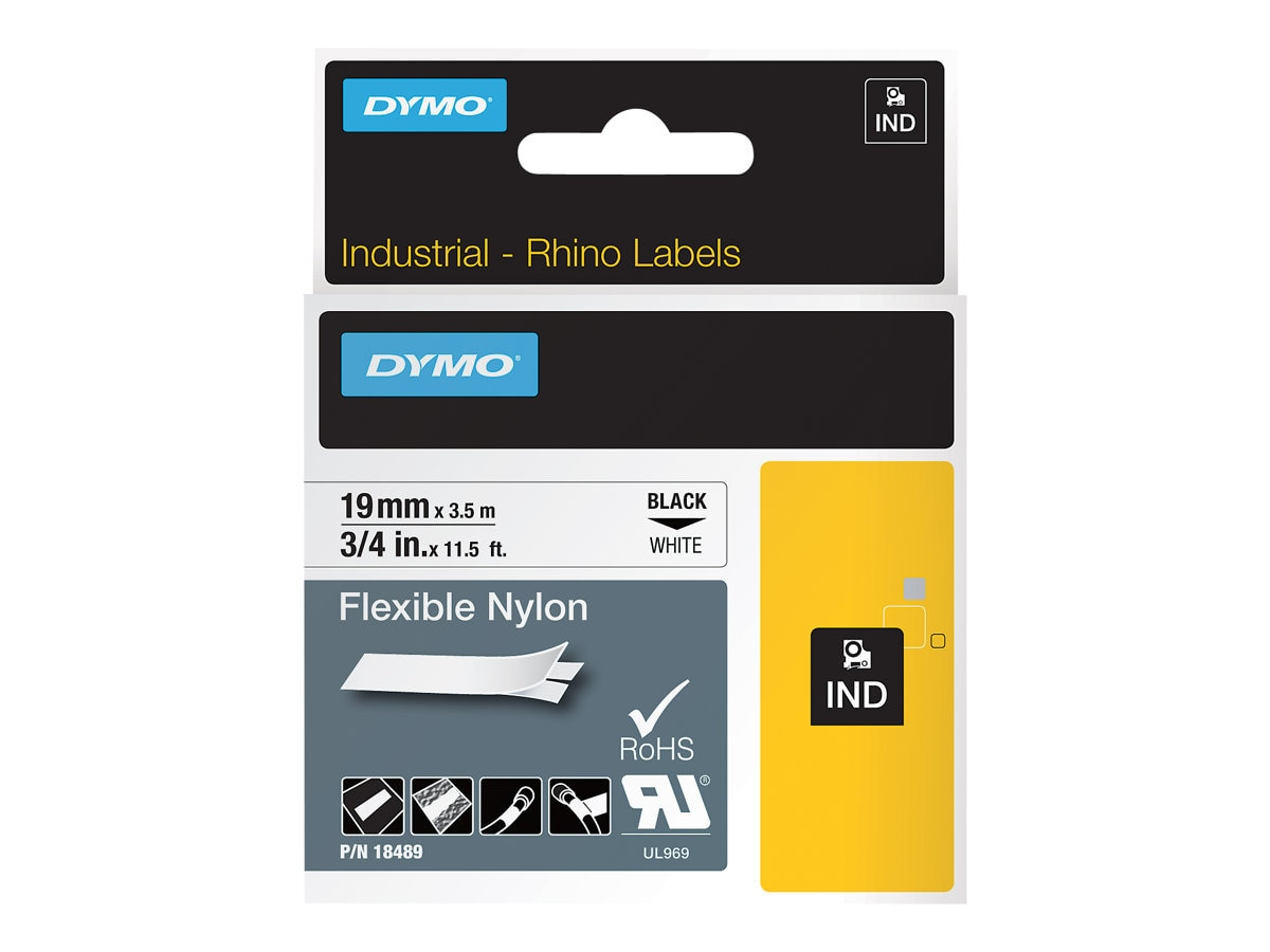 DYMO 0.75 x 11.5' Flexible Industrial Strength Nylon Tape (White)