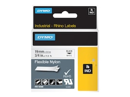 DYMO 0.75 x 11.5' Flexible Industrial Strength Nylon Tape (White), 18489, 4814861, Paper, Labels & Other Print Media