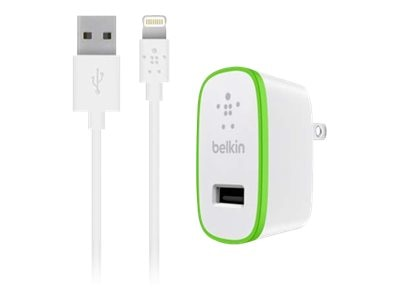 Belkin BOOST-UP iPad and iPhone 5 Charger w  Lightning ChargeSync Cable 12W 2.4A, White