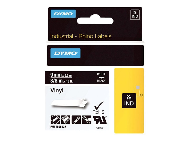 DYMO 3 8 Rhino Black Vinyl Labels, 1805437, 13202285, Paper, Labels & Other Print Media
