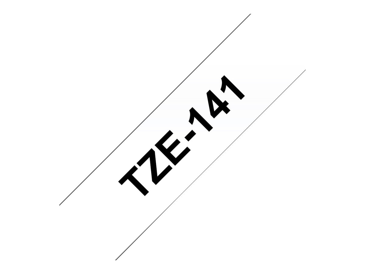 Brother 0.7 x 26.2' TZe141 Black on Clear Tape for P-Touch 8m, TZE-141