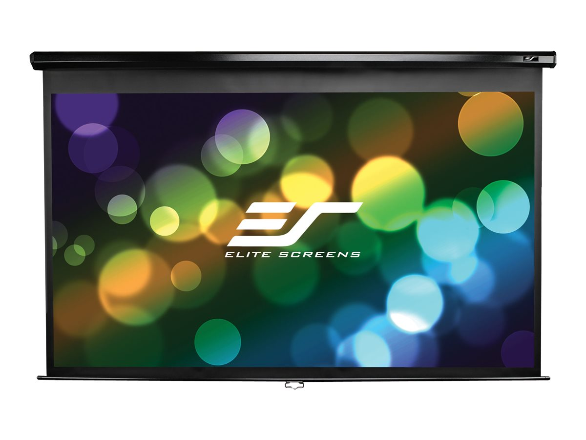 Elite Manual Pull-Down Projection Screen with Black Case, Matte White, 1:1, 85in