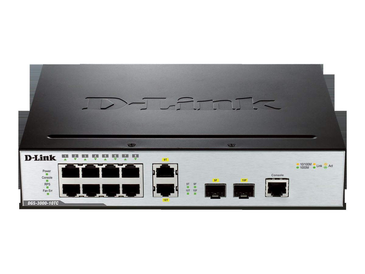 D-Link Switch 10 Port Gig L2 Managed, DGS-3000-10TC