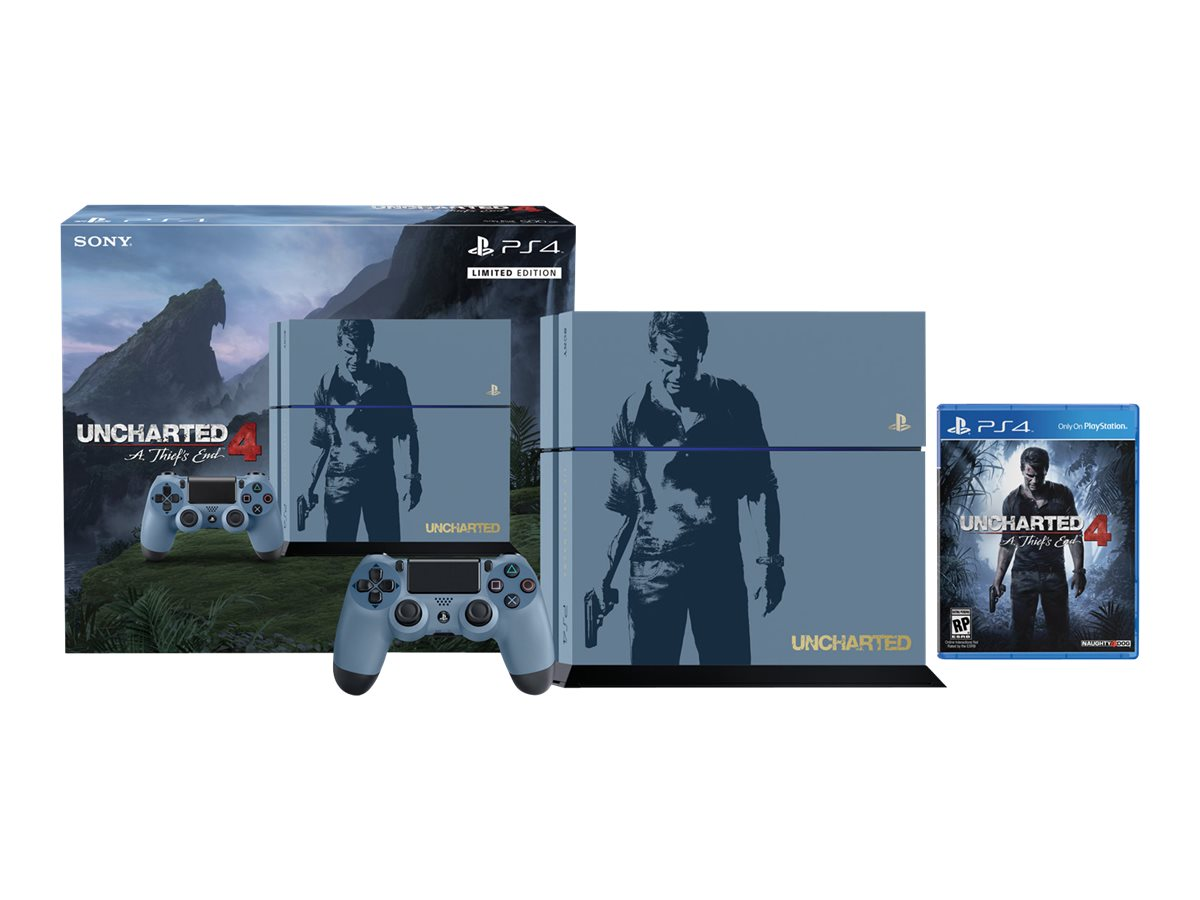 Sony PS4 500GB Uncharted 4 HW Bundle, Gray Blue with Custom Silk Screened Artwork, 3001068, 31746446, Video Game Consoles