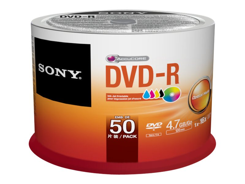 Sony 16x 4.7GB Inkjet Printable DVD-R Media (50-pack Spindle), 50DMR47PP, 15780951, DVD Media