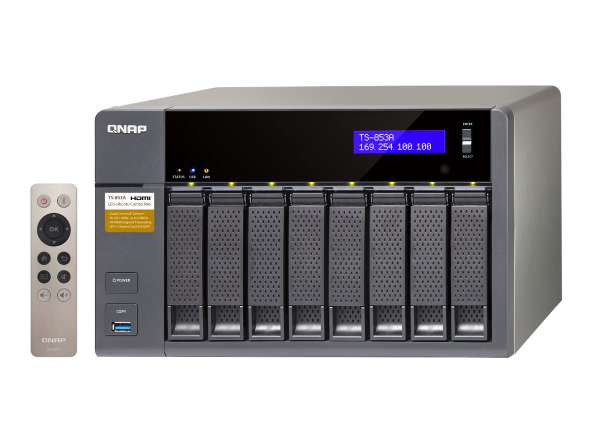Qnap TS853A 8GB RAM 8-Bay Professional Grade Intel QuadCore 16GHZ CPU NAS, TS-853A-8G-US