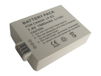 Canon LP-E5 Rechargeable Lithium-Ion Battery Pack, 7.4V, 1080mAh for EOS Rebel XSi T1i, LP-E5