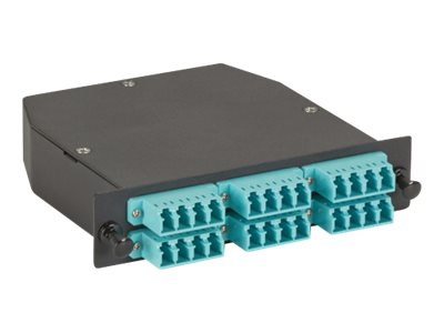 Black Box OM3 50-Micron Multimode Fiber Optic Cassette (LGX), 24-Strand MTP to (12) LC Duplex Pairs
