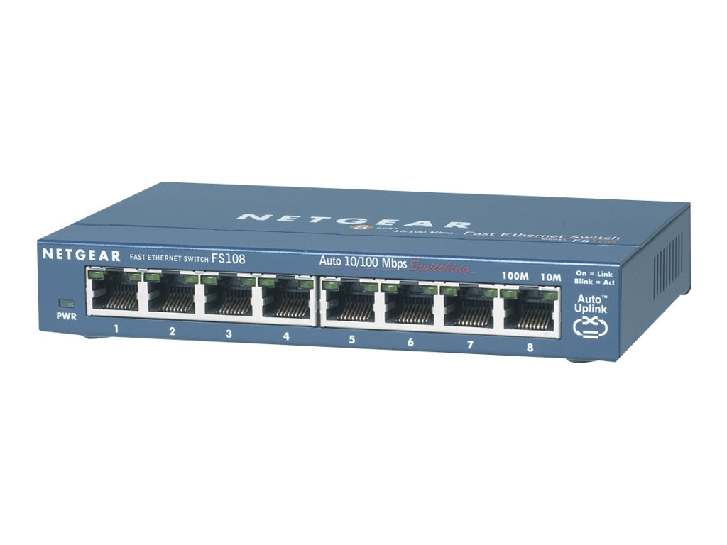 Netgear 8-Port 10 100 Fast Ethernet Desktop Switch, FS108NA