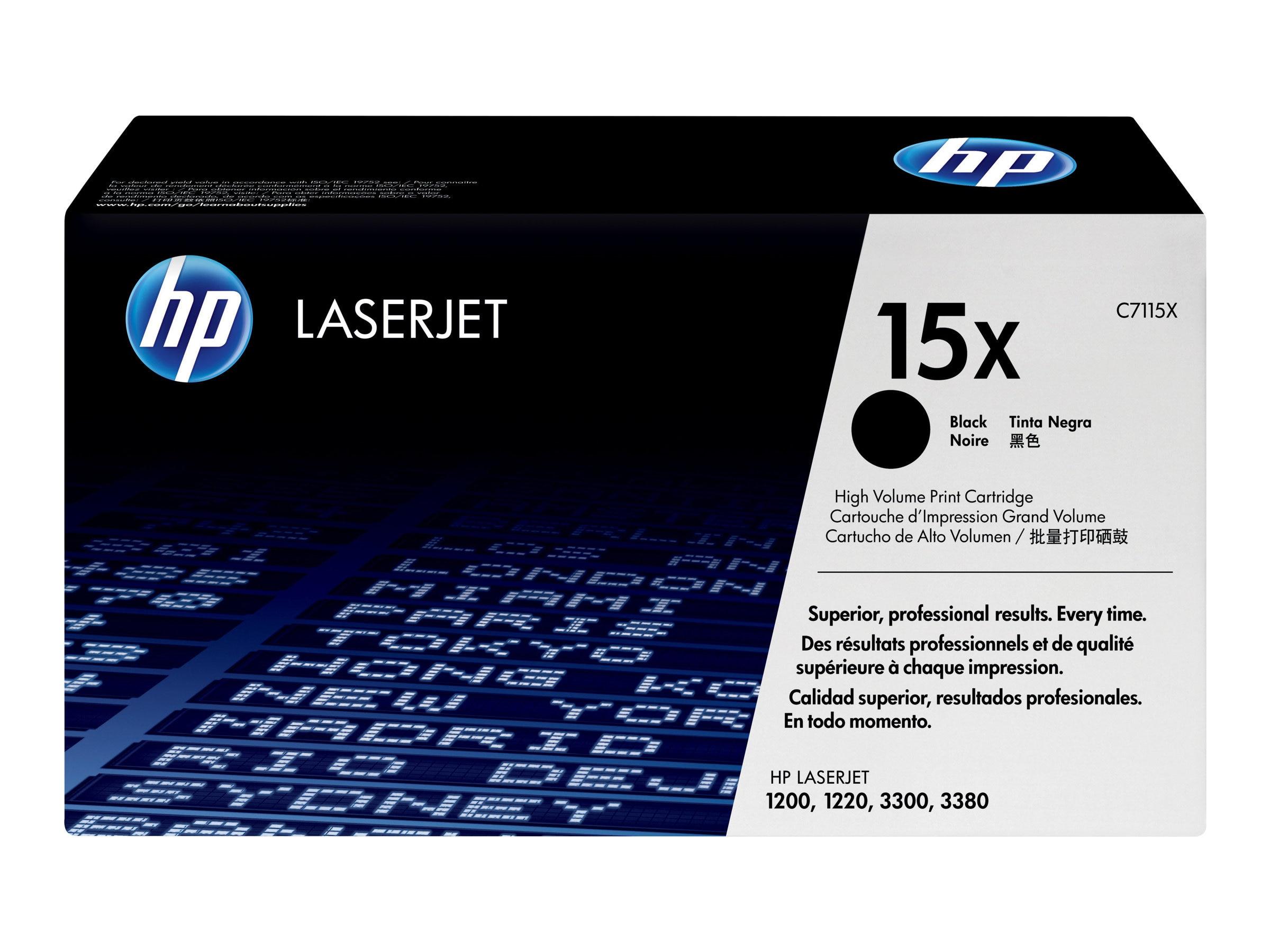 HP 15X (C7115X) High Yield Black Original LaserJet Toner Cartridge for HP LaserJet 1200, 1220, 3300, C7115X, 240638, Toner and Imaging Components