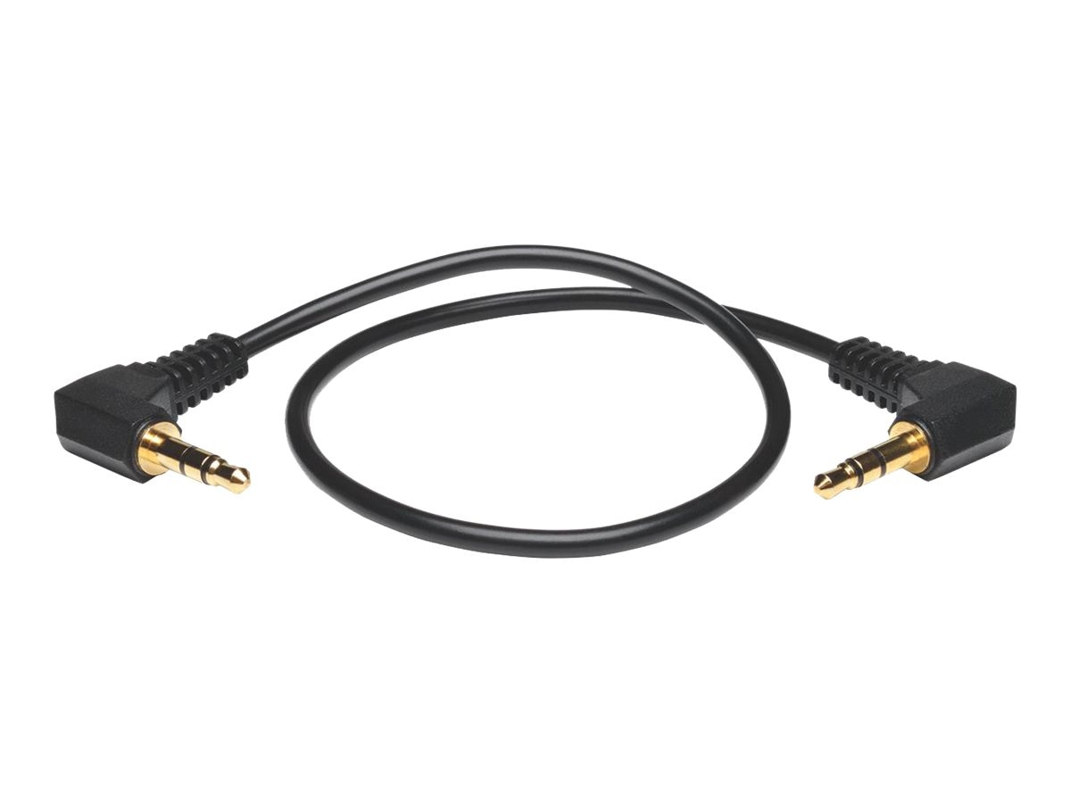 Tripp Lite 3.5mm M M Mini Stereo Audio Cable with two Right Angle Plugs, Black, 1ft, P312-001-2RA, 17588779, Cables