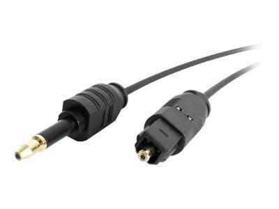 StarTech.com Digital Audio Cable, Thin Toslink to Miniplug, 3ft, THINTOSMIN3, 4919372, Cables