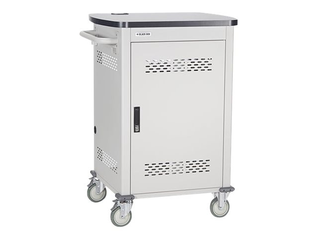 Black Box 24-Device Deluxe Intelligent Charging Cart, Single Frame with Medium Slots, Hinged Door