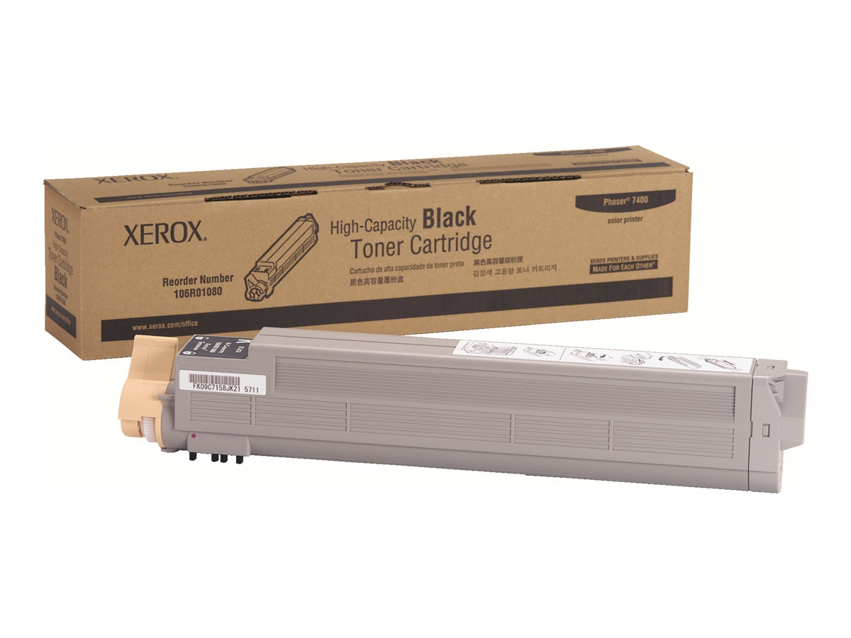 Xerox Black High Capacity Toner Cartridge for Phaser 7400 Series Color Printers, 106R01080