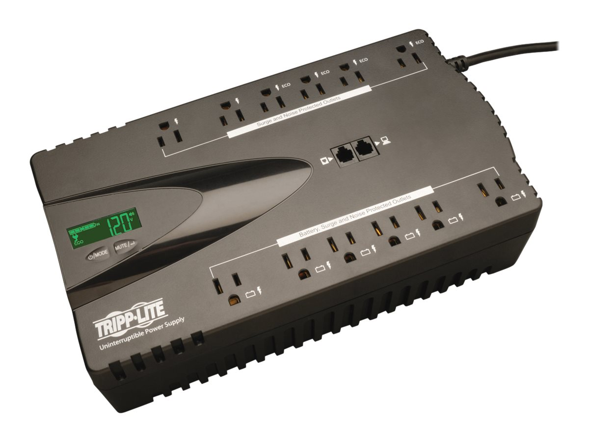 Tripp Lite ECO 850VA 425W 120V Energy-saving Standby UPS, USB Port, (12) 5-15R Outlet, ECO850LCD