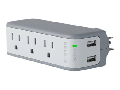 Belkin Mini Surge Protector with USB Charger, (3) AC Outlets, (2) USB Outlets, 918 Joules
