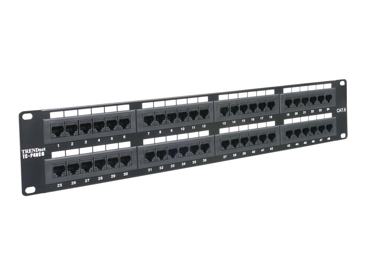 TRENDnet 48-Port Cat 6 RJ45 UTP 19in Rack Mount Patch Panel, TC-P48C6, 5244670, Patch Panels