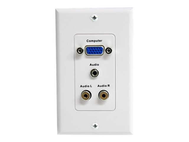 StarTech.com Wall Plate 15-Pin VGA, 3.5mm, RCA Jacks (F), White, VGAPLATERCA