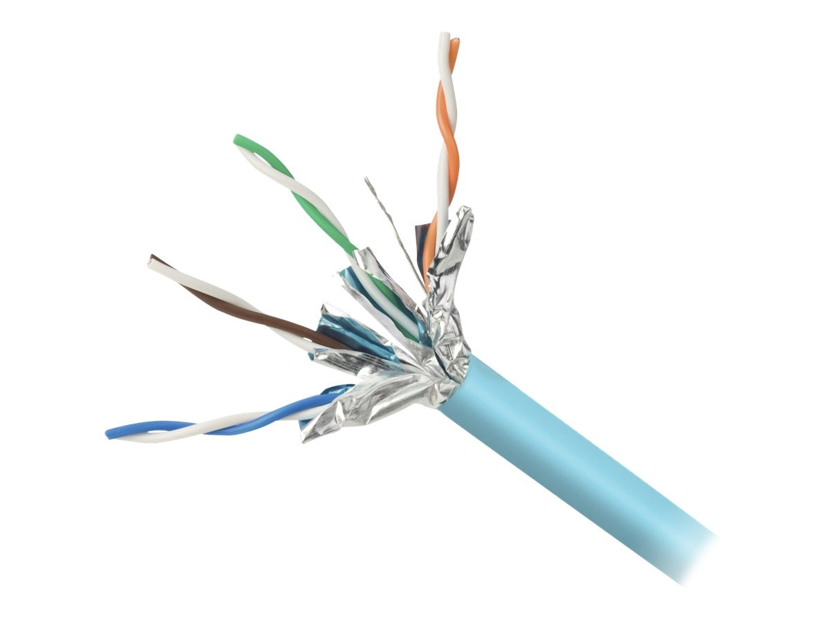 Belkin Cat6a 4-Pair 26AWG 10G Stranded Bulk Cable, Aqua, 1000ft, F2CP005-1000-AQ, 9292716, Cables