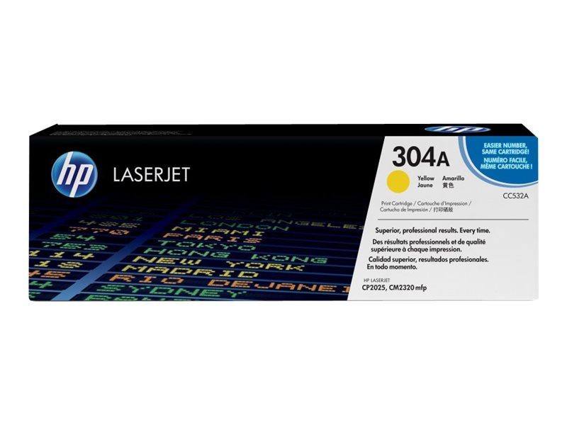 HP 304A (CC532A) Yellow Original LaserJet Toner Cartridge for HP Color LaserJet CP2025 & CM2320 MFP, CC532A, 8869000, Toner and Imaging Components