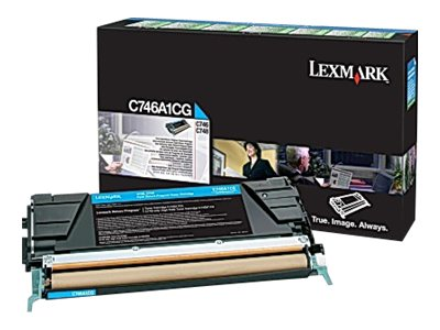Lexmark Cyan Return Program Toner Cartridge for C746 & C748 Color Laser Printer Series, C746A1CG