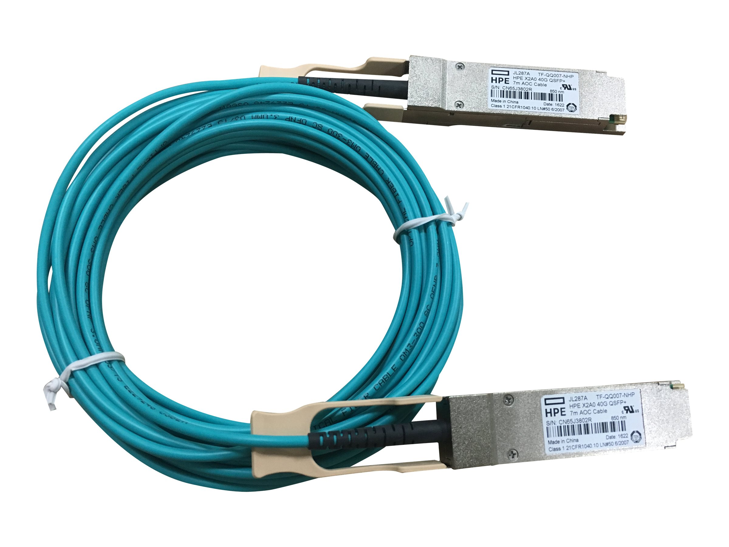 HPE 40G QSFP+ to QSFP+ Active Optical Cable, 7m, JL287A