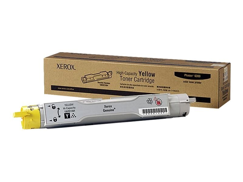 Xerox Yellow High Capacity Toner Cartridge for Phaser 6300, 106R01084