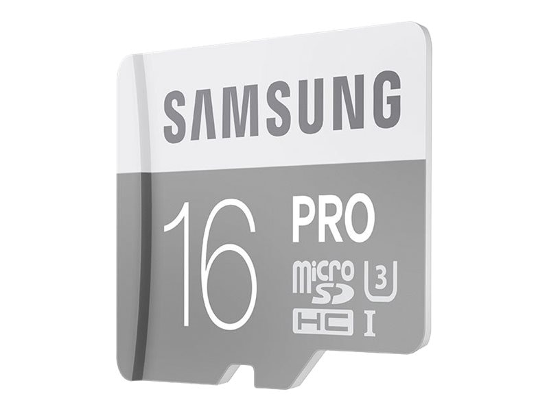 Samsung 16GB Pro Micro SDHC U3 Flash Memory Card with SD Adapter, Class 10, MB-MG16EA/AM, 30546434, Memory - Flash