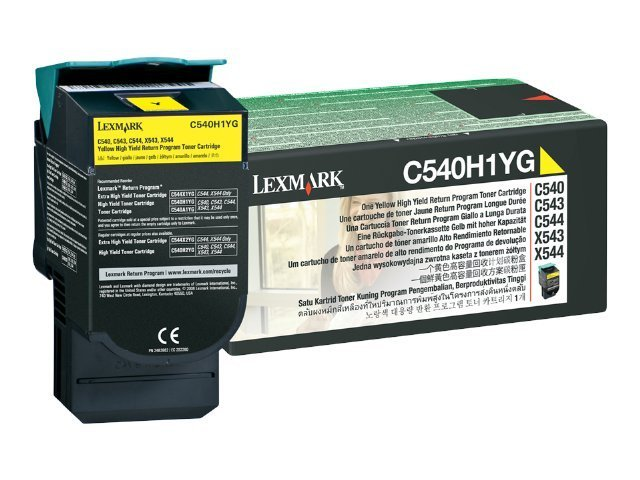 Lexmark Yellow High Yield Return Program Toner Cartridge for C540, C543 & C544 Printers & X543 & X544 MFPs, C540H1YG, 9163931, Toner and Imaging Components