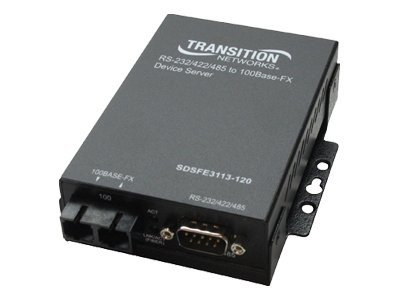Transition RS232 to Fast Ethernet Server DB-9-100BaseFX 1300NM SM SC 20KM, SDSFE3114-120, 7113585, Network Transceivers