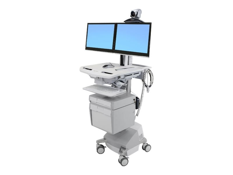 Ergotron StyleView Telemedicine Cart, Dual Monitor, Powered, SV44-56T1-1, 18180960, Computer Carts - Medical