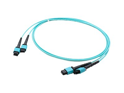 ACP-EP 2xMPO to 2xMPO M F 50 125 OM3 Multimode Duplex LSZH Fiber Cable, Aqua, 10m, ADD-TC-10M24-2MPF3