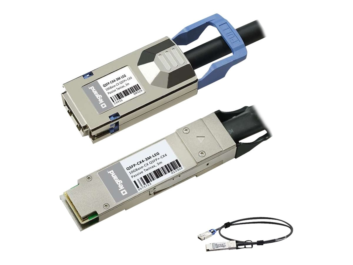 C2G 10GBASE-CX QSFP+ to CX4 Direct Attach Passive Twinax Cable, 3m, MSA and TAA Compliant