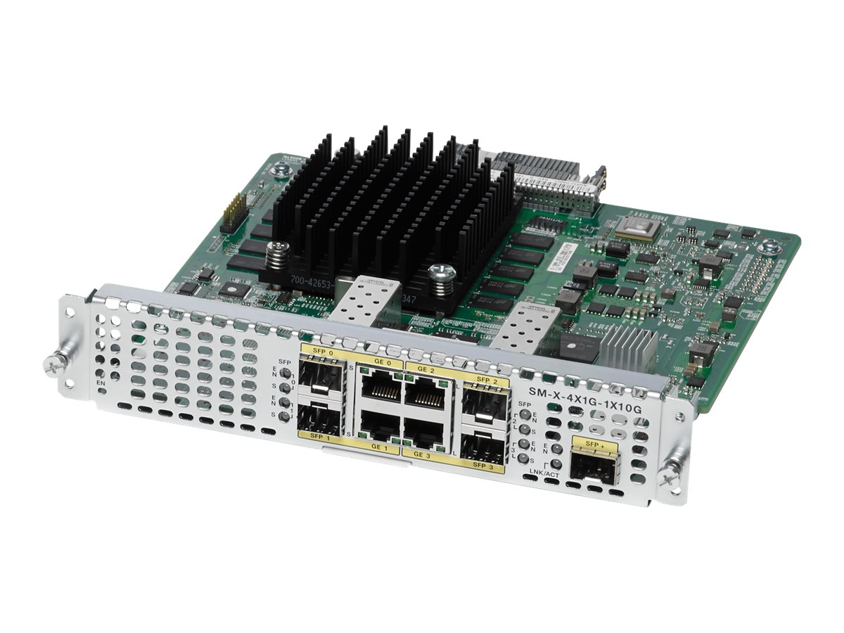 Cisco 4-Port High-Density Gigabit or 1-Port 10 Gigabit Ethernet WAN Service Module, SM-X-4X1G-1X10G=, 31071872, Network Device Modules & Accessories