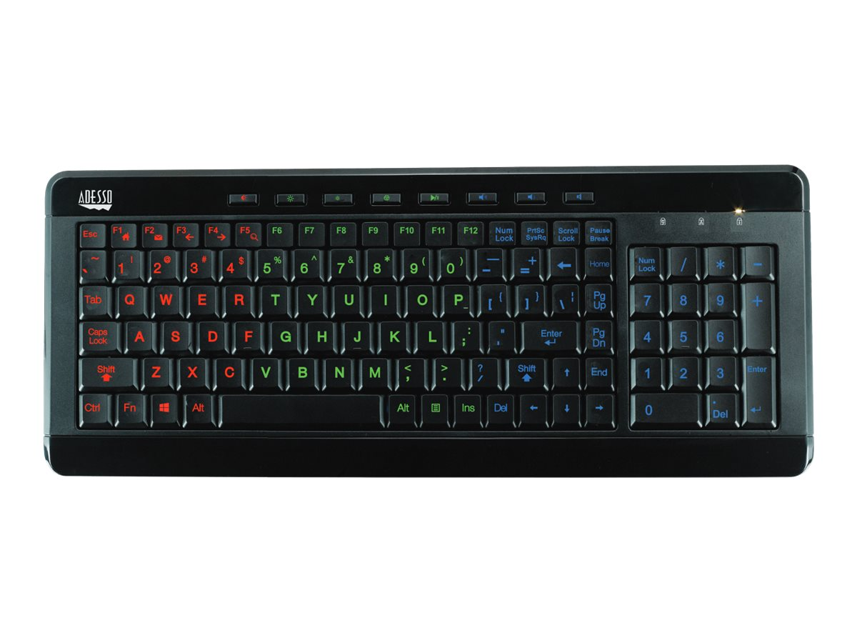 Adesso Slimtouch 3 Colors Illuminated Backlit Keyboard, AKB-120EB