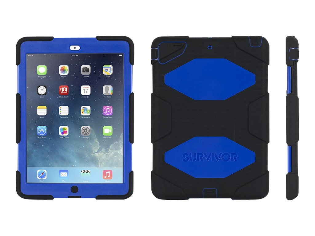 Griffin Survivor All-Terrain for iPad Air, Black Blue, GB36403-2, 17700652, Carrying Cases - Tablets & eReaders