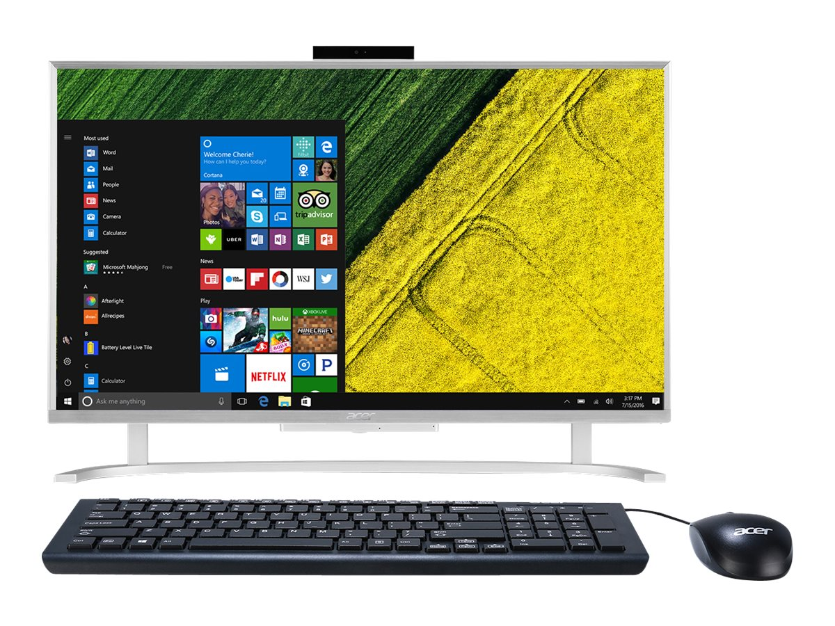 Acer Aspire AIO Core i3-6100U 2.3GHz 8GB 1TB HD520 ac BT GbE WC 23.8 FHD W10H64, Silver