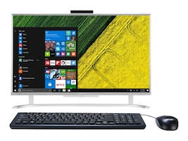 Acer Aspire C24-760-UR11 AIO Core i3-6100U 2.3GHz 8GB 1TB GbE ac BT WC 23.8 FHD W10H64, Silver, DQ.B7EAA.001, 32920485, Desktops - All-in-One