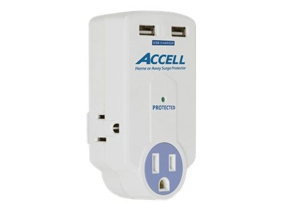 Accell Compact Travel Surge  3-Outlet w  (2) USB, 612 Joules, White, D080B-010K