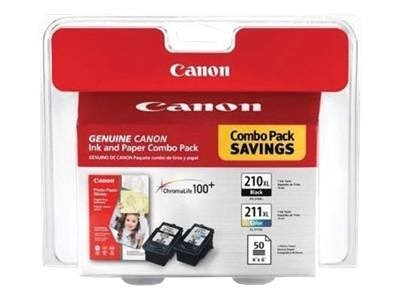 Canon Black PG-210 XL Ink Tank, Color CL-211 XL Ink Tank & 4 x 6 GP-502 Glossy Photo Paper (50 Sheets), 2973B004, 8907117, Ink Cartridges & Ink Refill Kits